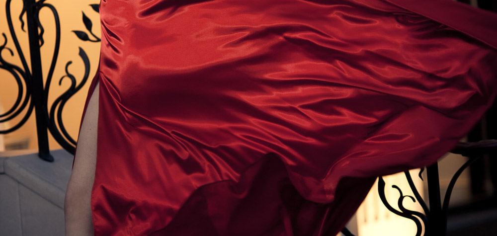 Red dress rippling in the wind.