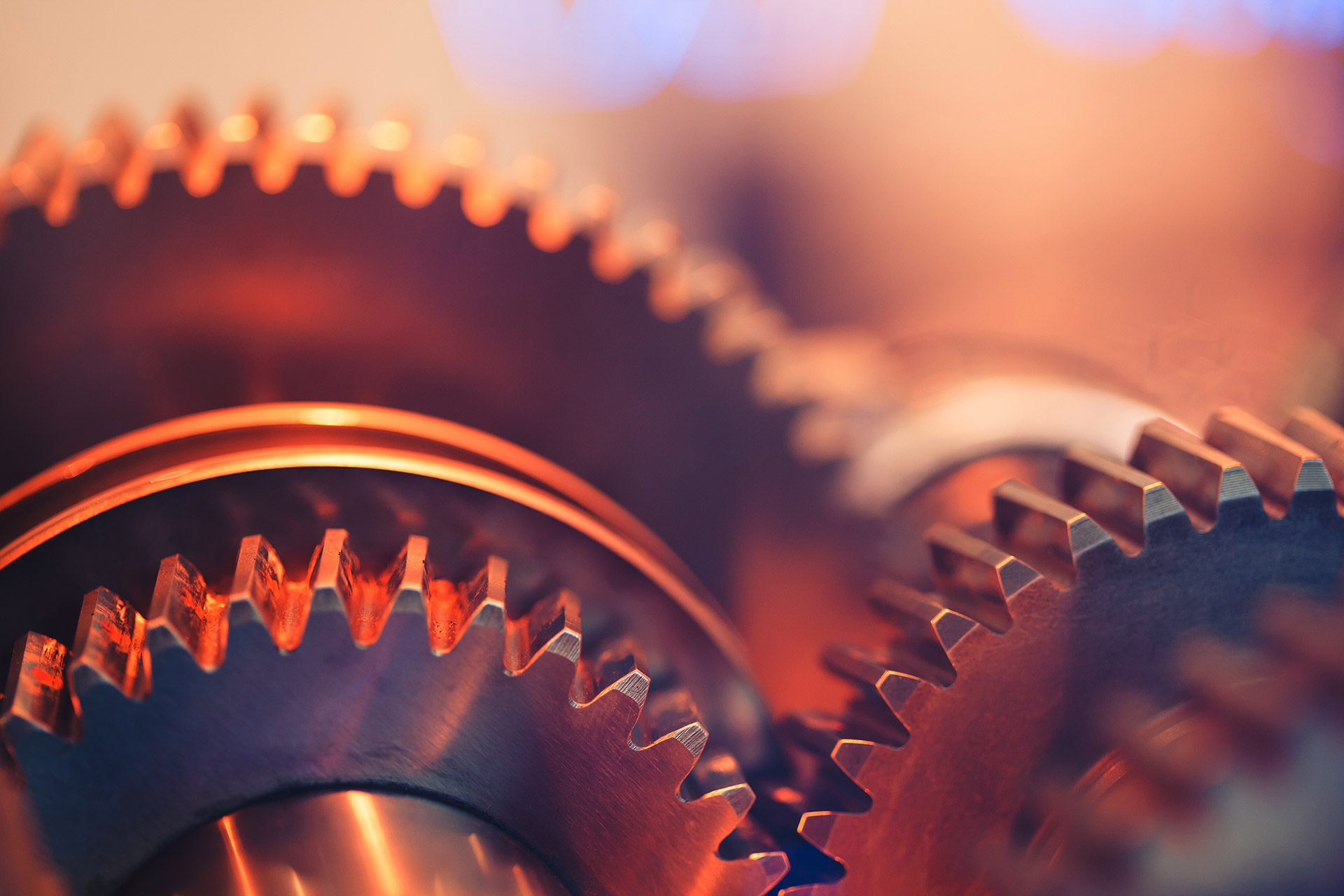Group of gears turning